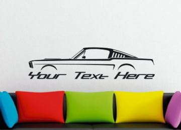 Large Custom car silhouette wall sticker - for 1965, 1966 Ford Mustang fastback | 1st gen classic